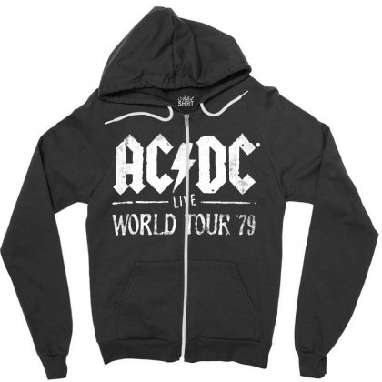 Acdc Live World Tour 79 Zipper Hoodie Designed By Pinkanzee