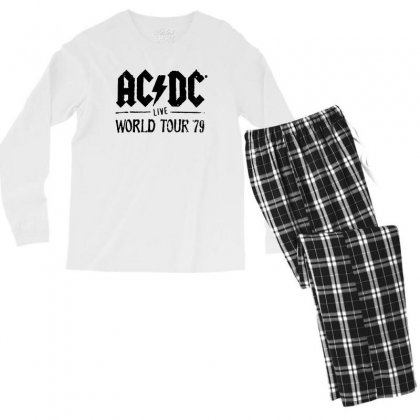 Acdc Live World Tour 79 In Black Men's Long Sleeve Pajama Set Designed By Pinkanzee