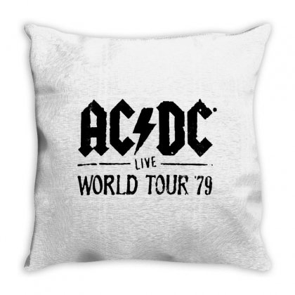 Acdc Live World Tour 79 In Black Throw Pillow Designed By Pinkanzee