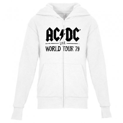 Acdc Live World Tour 79 In Black Youth Zipper Hoodie Designed By Pinkanzee