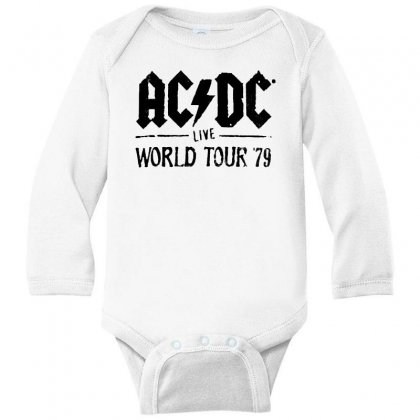 Acdc Live World Tour 79 In Black Long Sleeve Baby Bodysuit Designed By Pinkanzee