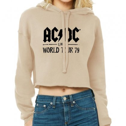 Acdc Live World Tour 79 In Black Cropped Hoodie Designed By Pinkanzee