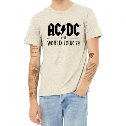 Acdc Live World Tour 79 In Black Heather T-shirt Designed By Pinkanzee