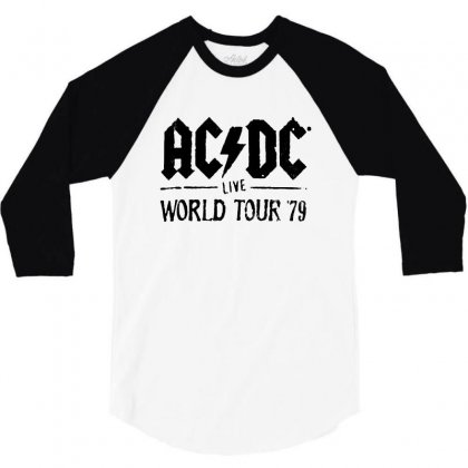 Acdc Live World Tour 79 In Black 3/4 Sleeve Shirt Designed By Pinkanzee