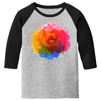 Watercolor Lion Youth 3/4 Sleeve Designed By Sengul