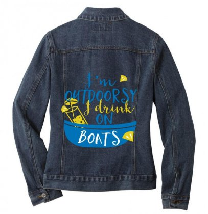 Outdoosy Drink On Boats Ladies Denim Jacket Designed By Perfect Designers