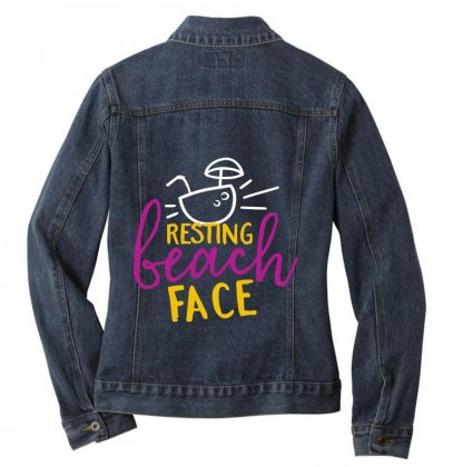 Resting Beach Face Ladies Denim Jacket Designed By Perfect Designers