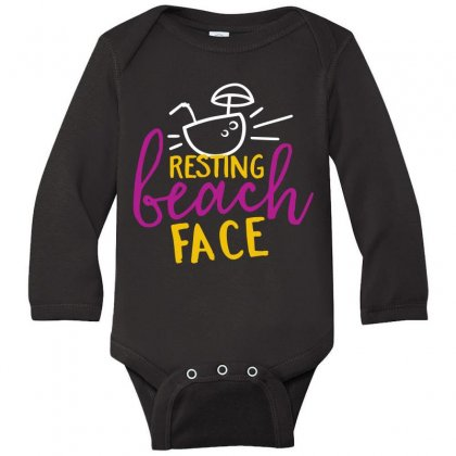 Resting Beach Face Long Sleeve Baby Bodysuit Designed By Perfect Designers