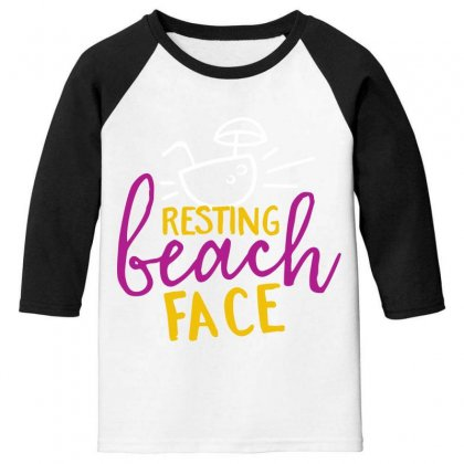 Resting Beach Face Youth 3/4 Sleeve Designed By Perfect Designers