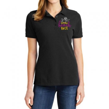 Resting Beach Face Ladies Polo Shirt Designed By Perfect Designers