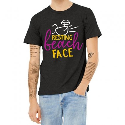 Resting Beach Face Heather T-shirt Designed By Perfect Designers