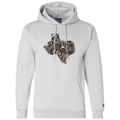 Support El Paso White Text For Light Champion Hoodie Designed By Gurkan