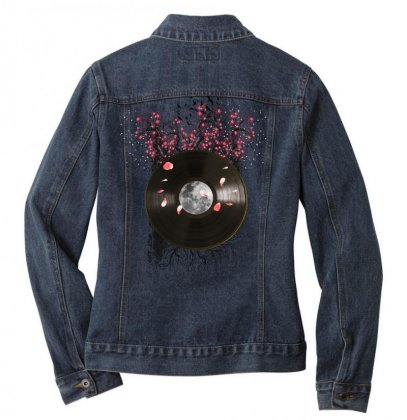 Cherry Bloom Record Ladies Denim Jacket Designed By Sengul