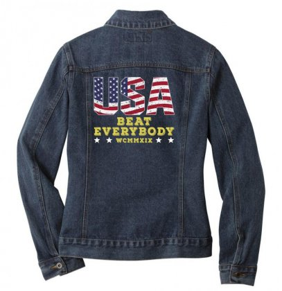 Usa Beat Everybody Ladies Denim Jacket Designed By Gurkan