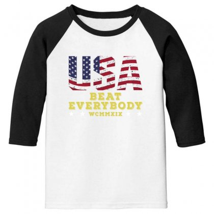 Usa Beat Everybody Youth 3/4 Sleeve Designed By Gurkan