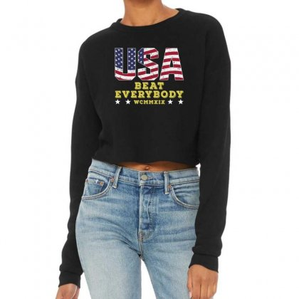 Usa Beat Everybody Cropped Sweater Designed By Gurkan
