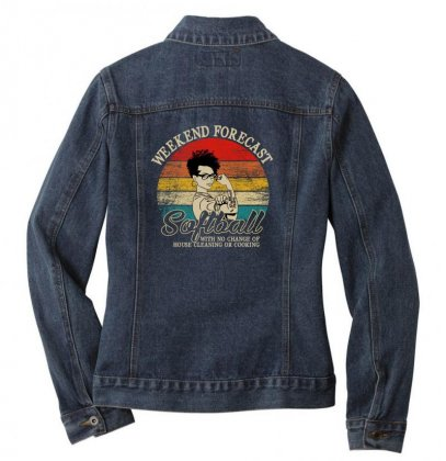 Weekend Forecast Softball Ladies Denim Jacket Designed By Gurkan