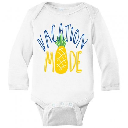 Vacation Mode Pineapple Long Sleeve Baby Bodysuit Designed By Perfect Designers