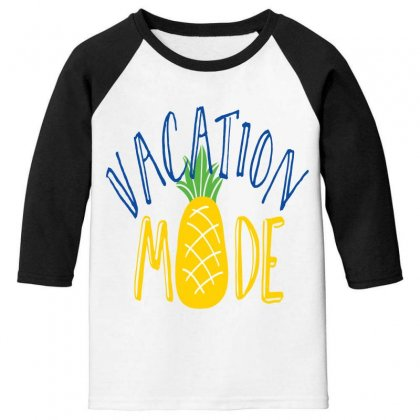 Vacation Mode Pineapple Youth 3/4 Sleeve Designed By Perfect Designers