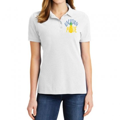 Vacation Mode Pineapple Ladies Polo Shirt Designed By Perfect Designers