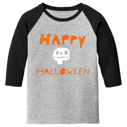 Cute Skull Happy Halloween Youth 3/4 Sleeve Designed By Platinumshop
