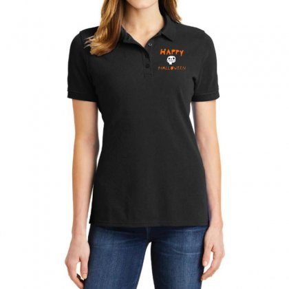 Cute Skull Happy Halloween Ladies Polo Shirt Designed By Platinumshop