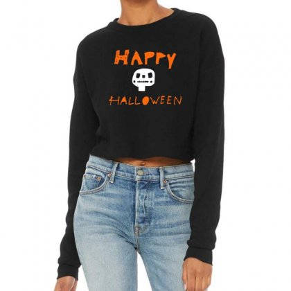 Cute Skull Happy Halloween Cropped Sweater Designed By Platinumshop