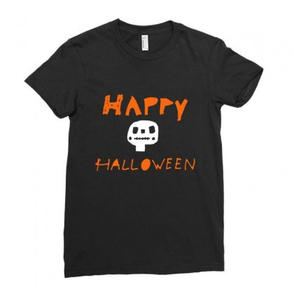Cute Skull Happy Halloween Ladies Fitted T-shirt Designed By Platinumshop