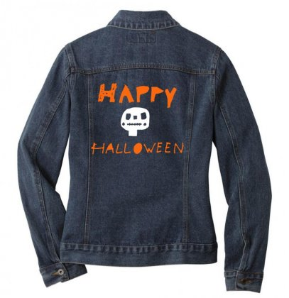 Cute Skull Happy Halloween Ladies Denim Jacket Designed By Platinumshop