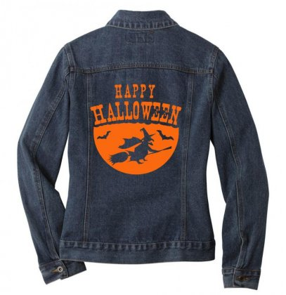 Happy Halloween Ladies Denim Jacket Designed By Platinumshop