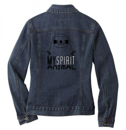 My Spirit Animal Cute Sloth Lover Halloween T Shirt Ladies Denim Jacket Designed By Platinumshop