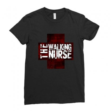 The Walking Nurse, Funny T Shirt Zombie Style Halloween Gift Ladies Fitted T-shirt Designed By Platinumshop