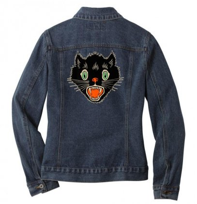 Vintage Halloween Scary Black Cat Horror Gift T Shirt Ladies Denim Jacket Designed By Platinumshop