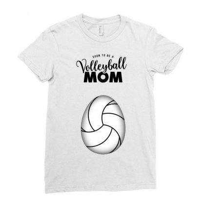 Soon To Be A Volleyball Mom Egg Ladies Fitted T-shirt Designed By Honeysuckle