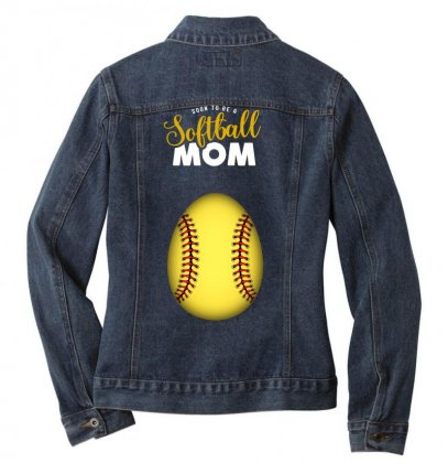 Soon To Be A Softball Mom Egg Ladies Denim Jacket Designed By Honeysuckle