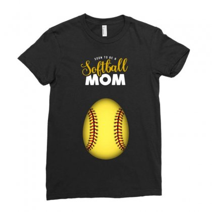 Soon To Be A Softball Mom Egg Ladies Fitted T-shirt Designed By Honeysuckle