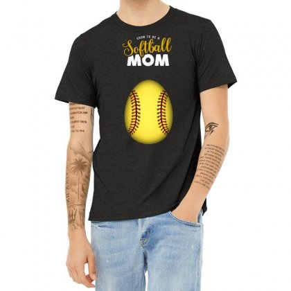 Soon To Be A Softball Mom Egg Heather T-shirt Designed By Honeysuckle