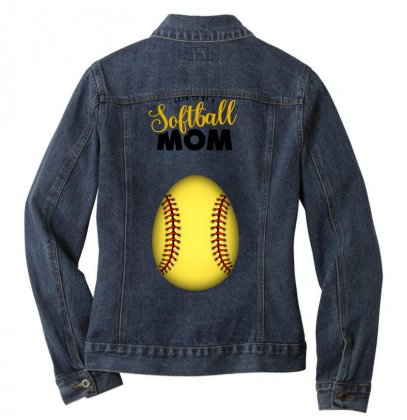 Soon To Be A Softball Mom Ladies Denim Jacket Designed By Honeysuckle