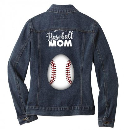 Soon To Be A Baseball Mom Ladies Denim Jacket Designed By Honeysuckle
