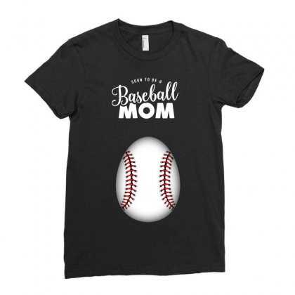 Soon To Be A Baseball Mom Ladies Fitted T-shirt Designed By Honeysuckle