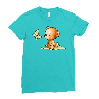 Drawing Of Cute Teddy Bear With Butterfly Ladies Fitted T-shirt Designed By Butterfly99