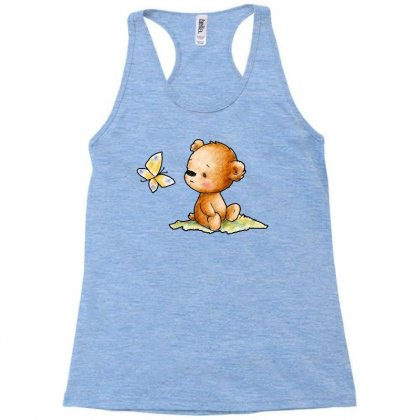 Drawing Of Cute Teddy Bear With Butterfly Racerback Tank Designed By Butterfly99