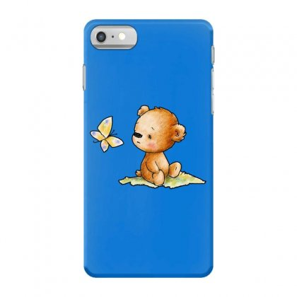 Drawing Of Cute Teddy Bear With Butterfly Iphone 7 Case Designed By Butterfly99