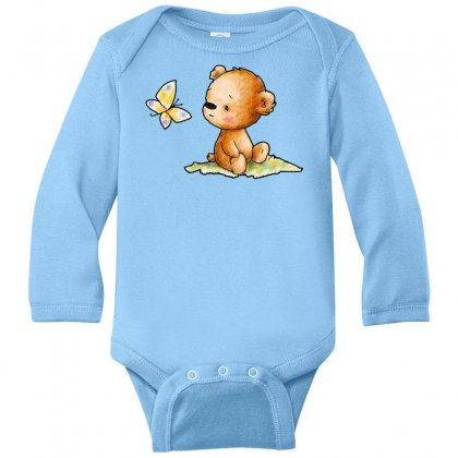 Drawing Of Cute Teddy Bear With Butterfly Long Sleeve Baby Bodysuit Designed By Butterfly99