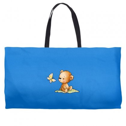 Drawing Of Cute Teddy Bear With Butterfly Weekender Totes Designed By Butterfly99