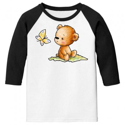 Drawing Of Cute Teddy Bear With Butterfly Youth 3/4 Sleeve Designed By Butterfly99