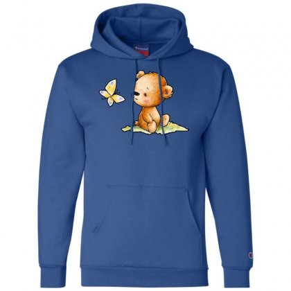 Drawing Of Cute Teddy Bear With Butterfly Champion Hoodie Designed By Butterfly99