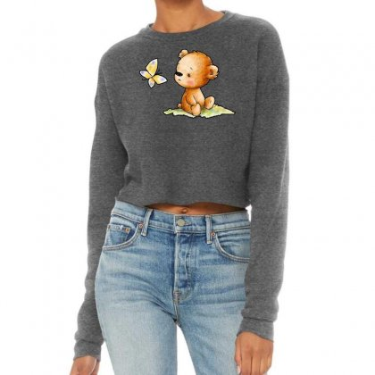 Drawing Of Cute Teddy Bear With Butterfly Cropped Sweater Designed By Butterfly99