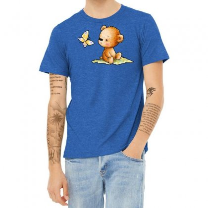 Drawing Of Cute Teddy Bear With Butterfly Heather T-shirt Designed By Butterfly99