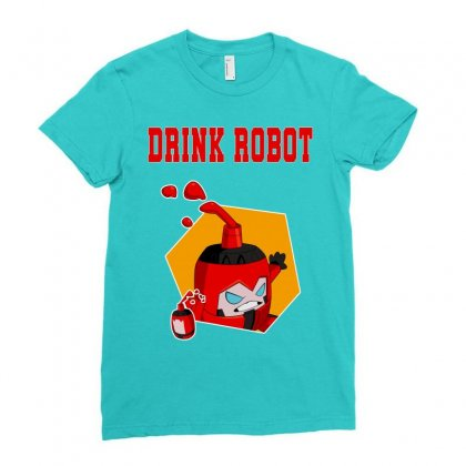 Drink Robot Ladies Fitted T-shirt Designed By Butterfly99